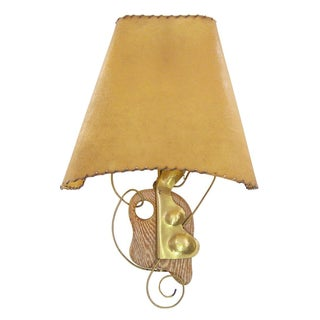 Heifetz Sculptural Mid-Century Modern Vintage Brass Wall Sconce Lamp