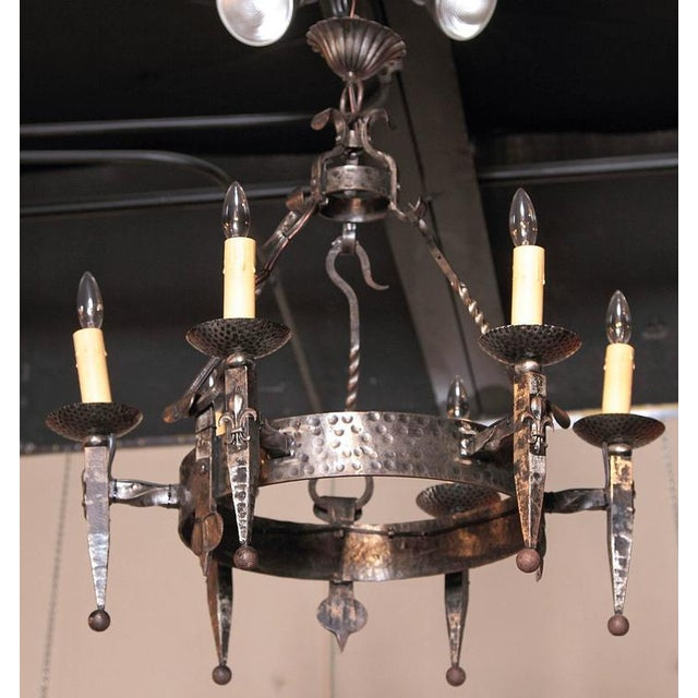 Early 20th Century French Wrought Iron Six-Light Chandelier - Image 3 of 10