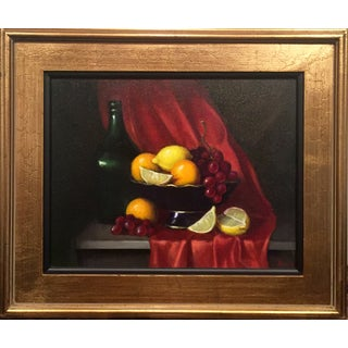 Fruit Bowl & Green Bottle Framed Still Life