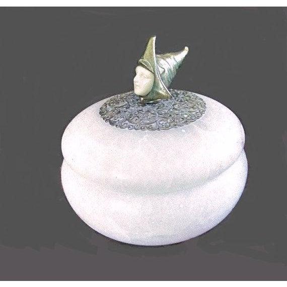 Image of Art Nouveau Alabaster Powder Jar