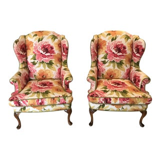 Floral Linen Wing Chairs - A Pair