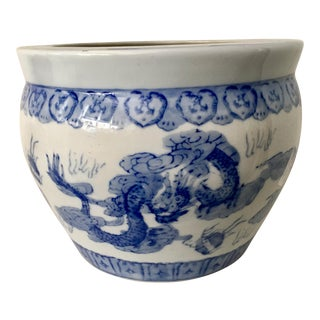 Blue & White Dragon Chinese Planter