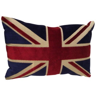 Union Jack Flag Chenille Bolster Pillow