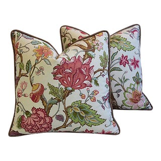 "22"" Custom Traditional English Jacobean Floral Feather/Down Pillows - Pair"