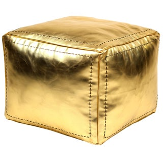 Moroccan Square Faux Metallic Gold Leather Pouf