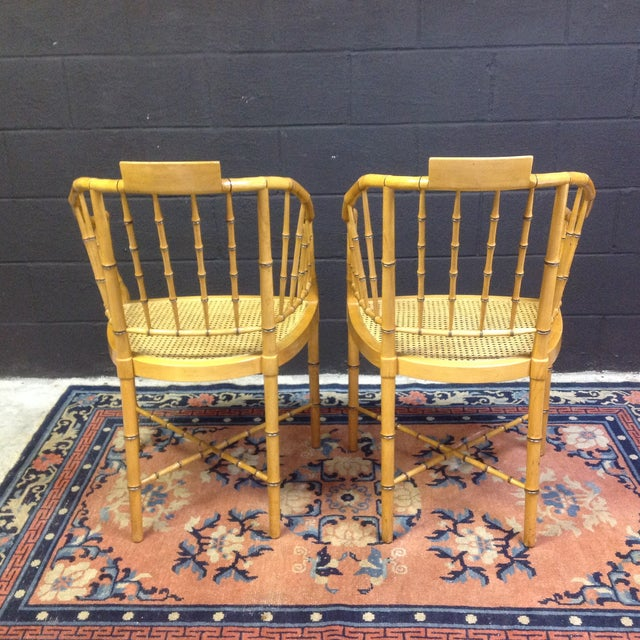 Image of Baker-Style Faux Bamboo Cane Chairs- A Pair