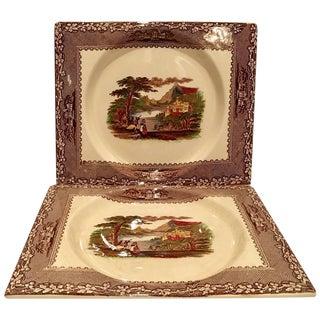 Vintage Royal Staffordshire Square Plates - A Pair