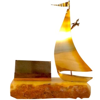 Vintage Sailboat Sculpture. 1970s DeMott Sailboat With Business Card Holder