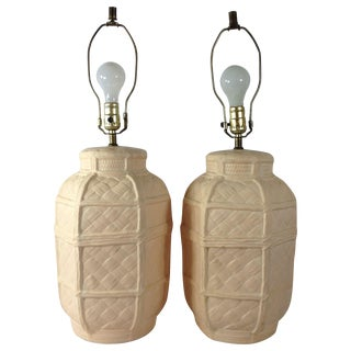Woven Ceramic Lamps - A Pair