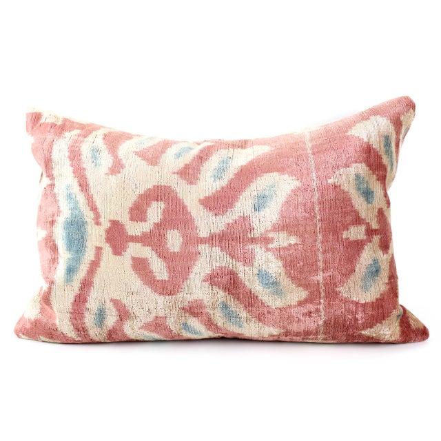 Image of Pink Silk Ikat Velvet Pillow
