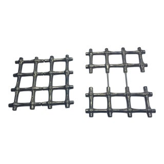 Silverplate Faux Bamboo Trivets - A Pair