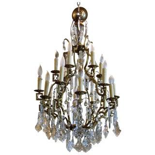 Antique Gold Metal Crystal Chandelier
