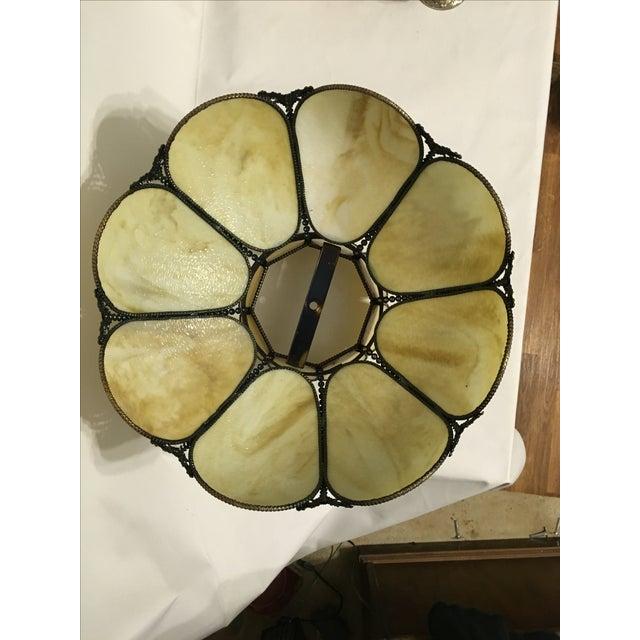 Cream & Tan Slag Glass Lamp Shade - Image 6 of 7