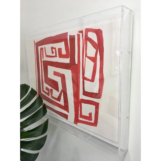 "Zoe Bios ""Cherry Maze"" in Lucite Box Frame - Image 4 of 5"