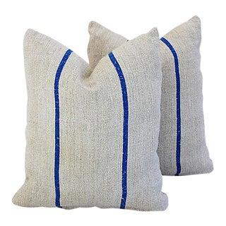 "22"" x 20"" Custom Tailored French Homespun Textile Feather/Down Pillows - Pair"