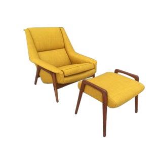 Rare Dux Teak Lounge Chair & Ottoman