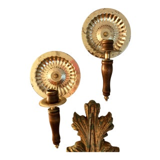 Mid-Century Brutalist Candle Sconces in Brass and Wood - a Pair