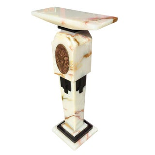 Art Deco Chiparus Style Light Up Marble Pedestal