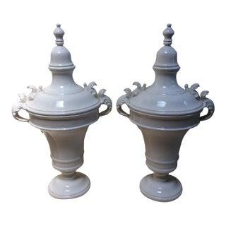 White Ceramic Apothecary Jars - A Pair