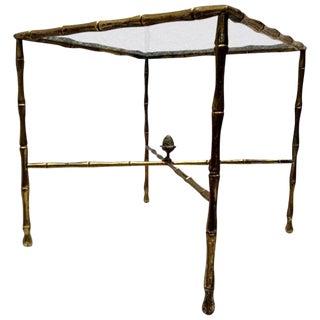 Custom Faux Bamboo Brass Side Table by Arturo Pani