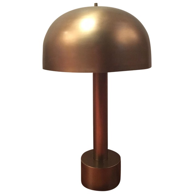 Image of Refinished 1970's Brass Mushroom Lamp