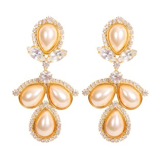 Faux-Pearl Rhinestone Drop Earrings