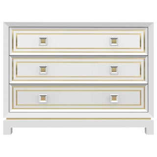 Customizable Bleached Walnut Dresser with Brass Inlay / 1702