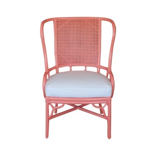 Pink Vintage Rattan and Cane Wing Chair