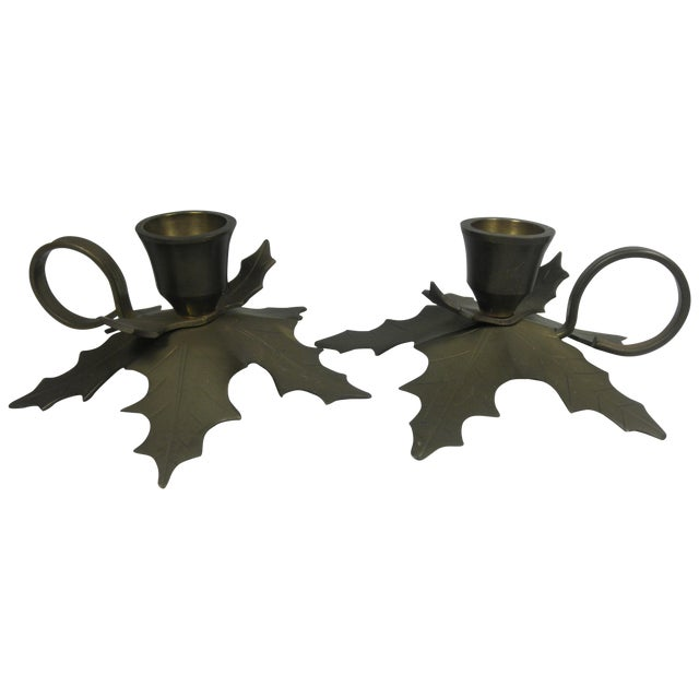 Image of Brass Holly Candle Holders - A Pair