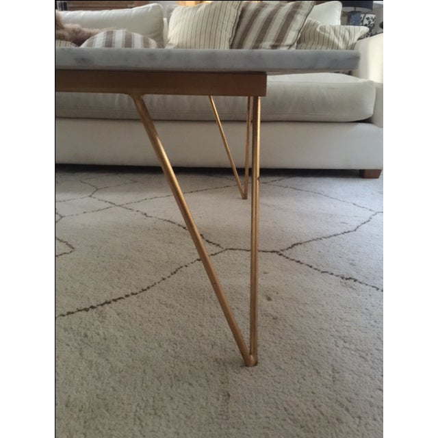 White Marble Coffee Table Gold Legs: White Marble Hairpin Leg Coffee Table