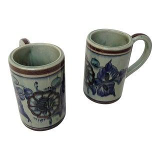 Tonala Talavera Folk Mexican Studio Art Ceramic Mugs - Set of 2