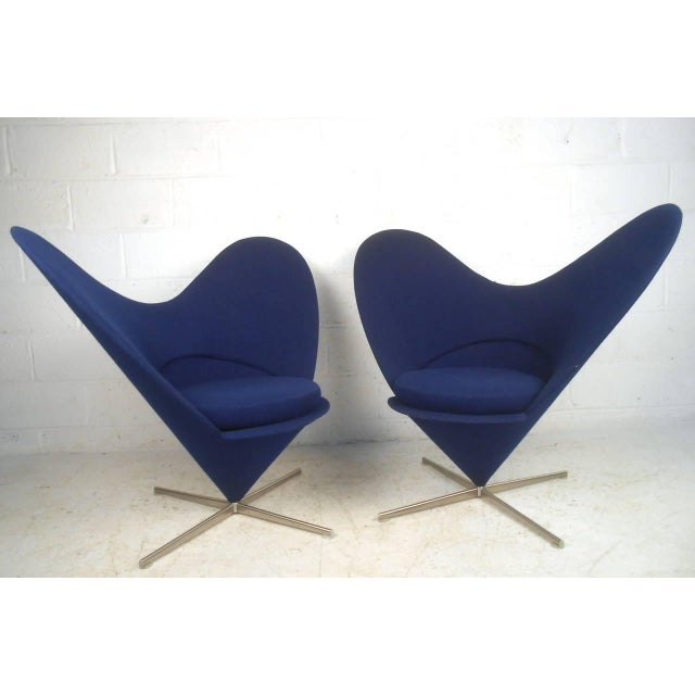Pair Sculptural Modern Wingback Swivel Chairs - Image 6 of 6