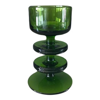 Mid-Century Modern Green Crystal Wedgwood Sheringham Candle Holder