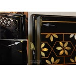 Image of Vintage Chinese 4 Panel Lacquered Hardstone Screen