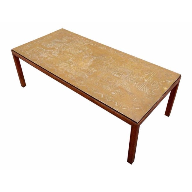 Italian Acid Etched Brass Coffee Table - Image 1 of 5