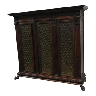 19th century Fabulous 3 doors carved Bibliotheque Bookcase w/Lions Feet & Frosty glass -circa 1850's