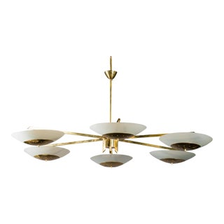 Monumental Italian Mid Century Brass and White Glass Chandelier