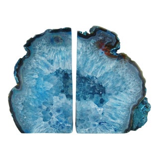 Royal Blue Crystal Rock Geode Bookends - A Pair
