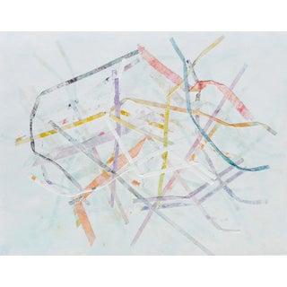 Pastel Ribbons Mono Print Painting