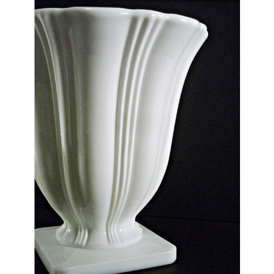 Art Deco Milk Glass Planter Urn Vase - Image 5 of 5