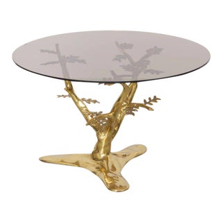 Brass Tree Sculpture Coffee Table with Round Glass Top