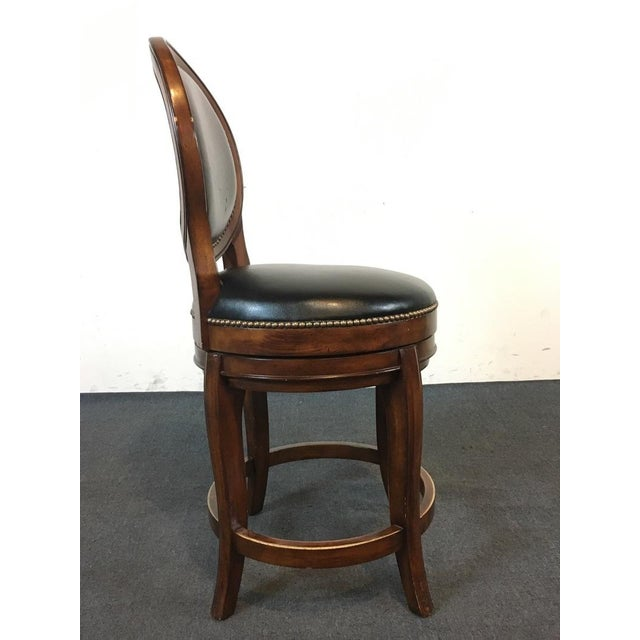 Mahogany & Black Leather Swivel Bar Stools - A Pair - Image 5 of 11