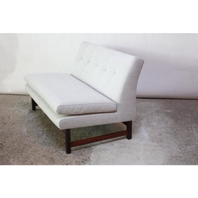 Image of Danish Modern Settee in Chenille and Rosewood