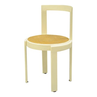 Vintage Thonet Style Italian Mid-Century Modern Round White Cane Seat Side Chair