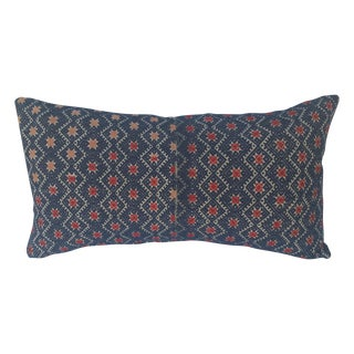 Indigo Red Star Embroidered Pillow