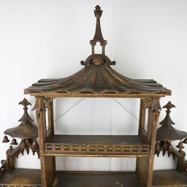 Chinese Chippendale Hanging Pagoda Wall Shelf - Image 3 of 11