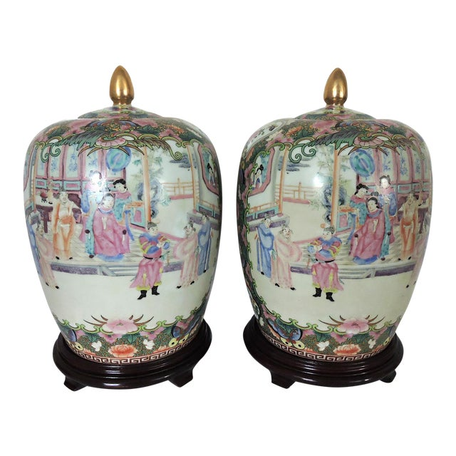 Rose Mandarin Ginger Jars on Rosewood Stands - a Pair - Image 1 of 7