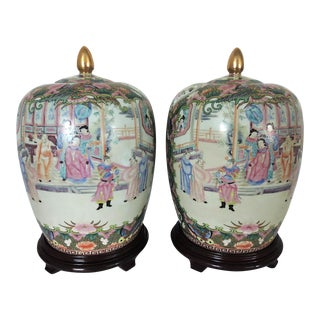 Rose Mandarin Ginger Jars on Rosewood Stands - a Pair
