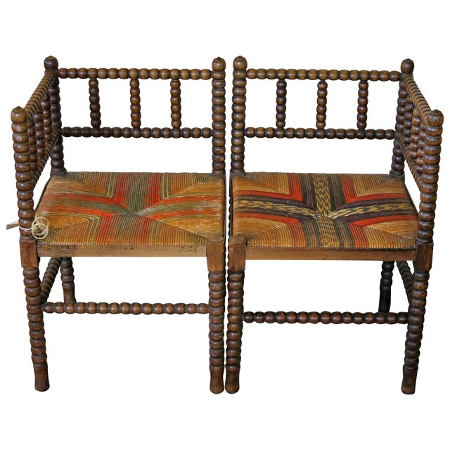 Antique French Corner Chairs - A Pair - Image 1 of 7