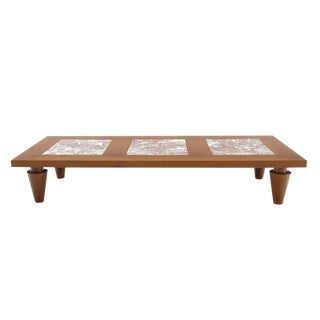 Large Rectangular Coffee Table on Heavy Legs with Marble Inserts